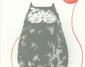 Cat Screenprint Illustration of Billy Playing