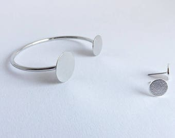 Cufflinks SILVER and matching earrings as SET