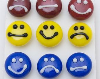 Designer Push Pins, Smileys set (9), lampwork glass