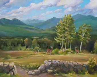 A White Mountain View Oil Landscape Painting