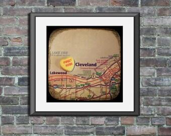 first kiss cleveland custom candy heart map art ttv unframed photo print anniversary engagement wedding gift home decor