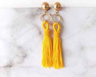Yellow and Crystal Tassel Pierced Drop Statement Earrings