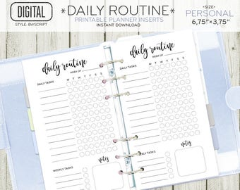PERSONAL size Daily Routine planner insert, daily weekly task habit tracker printable, black white inserts instant download 101OR H BWSCRIPT