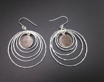 Ammonite Fossil & Heavyweight Sterling Lightweight Statement Earrings 240 Million Years Old