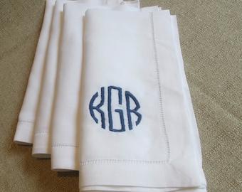White linen hemstitched 20x20 napkin // circle monogram // custom monogram napkins // choose your thread color // Miss Kris Designs