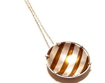 Pendant, MOKUME GANE, silver, copper