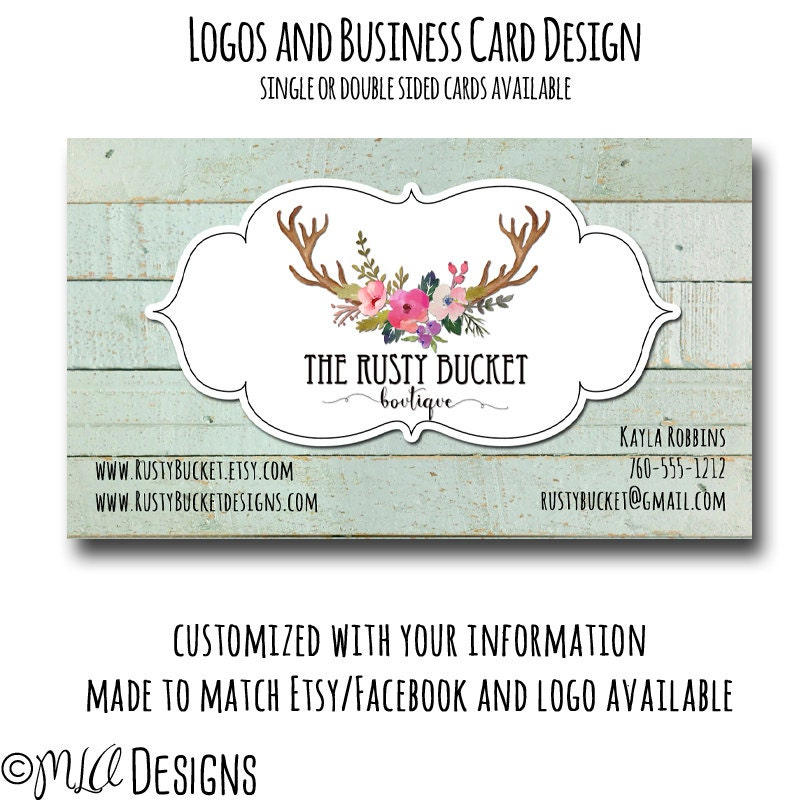 Deer Antler Floral Custom Business Card Custom Premade Logos