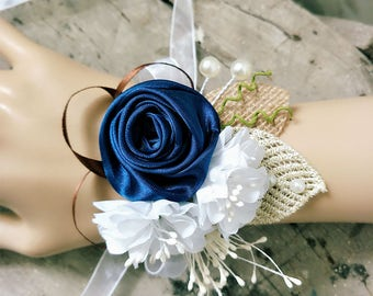 Wrist Corsage,Navy Blue Wrist Corsage,Rustic Bridal Wrist Corsage,Rose Wrist Corsage,Prom Corsage.