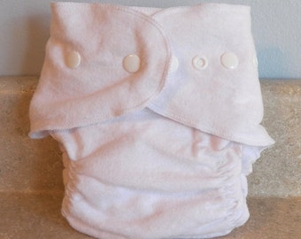 Fitted Medium Cloth Diaper- 10 to 20 lbs- Basic White with Thread and Snap Choices- Pick Your Own Color- Made to Order