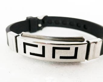 Men's leather and steel bracelet with die plate