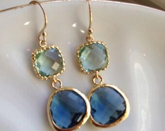 Sapphire Navy Earrings Prasiolite Glass Gold Plated - Bridesmaid Earrings - Valentines Day Gift - Wedding Earrings