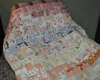 Patchwork Quilt, Handmade Traditional Patchwork Quilt, Patchwork Quilt Patchwork Chair Throw, Sofa Throw, Lap Quilt, Rainbow Quilt.