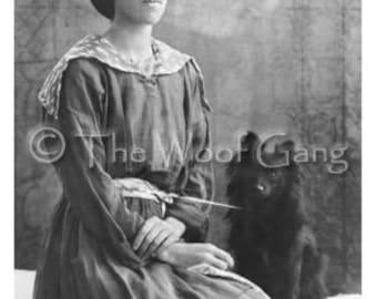 Black Pomeranian Pup and Friend, c. 1914 Vintage Photo - Note Card
