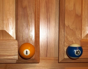 Handcrafted 1-1/2 inch Pool Ball Cabinet Drawer and Cabinet Door Pulls