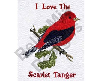 Bird - Machine Embroidery Design, Scarlet Tanager, I Love the Scarlet Tanager