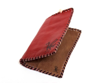 SALE 15% OFF* Genuine Llama Leather Card Holder Wallet Hand Painted (Bolivian Peruvian leather)