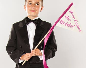 Here Comes The Bride Small Wedding Sign   Wedding Ring Bearer Flower Girl Page Boy Flag Pennant Custom Color 1655 SPW