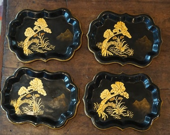 Vintage Set of 4 Tole Japanese/Chinese Snack Trays/ Chinoiserie Trays/ Black and Gold
