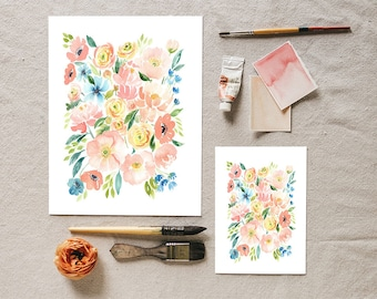 Spring watercolor floral print