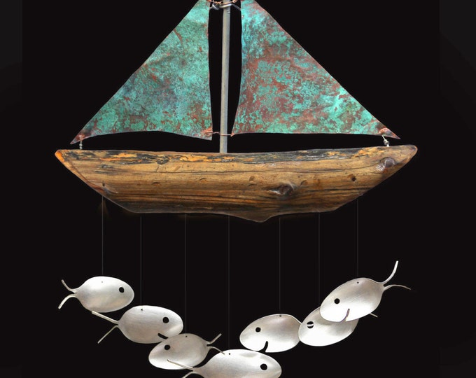CUSTOM LISTING for A.V. 11 fish sailboat with engraving*******Custom ENGRAVED Sailboat Verdigris Copper Sails Art