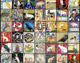 Medieval images for tiles and jewelry