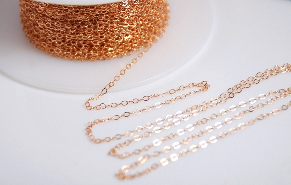 Rose gold chain, 14K rose gold filled flat cable chain for jewelry ...