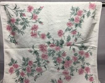 Vintage floral bath towel, pink roses, towel with flowers, vintage bathroom towel, retro, floral, Martex