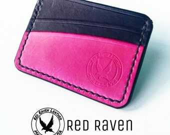 Veg tan leather wallet // veg tanned leather wallet // cardholder // pink // black // gifts for her // bridesmaid gifts