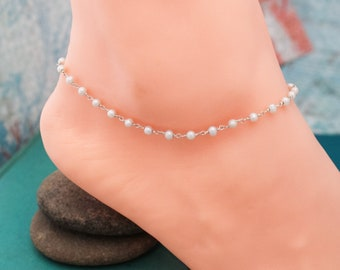Pearl Chain Anklet, June Birthday Gift, Birthstone Jewelry, Pearl Jewelry, Sterling Silver Anklet, Gifts for Her, Summer Cruise Jewelry