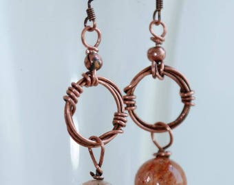 Quartz and copper earrings