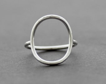 Large Oval Sterling Silver Ring with Hammered Texture, Minimalist Silver Ring,