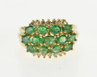 14k 2.09 Ctw Oval Emerald Diamond Trim Cluster Ring Gold