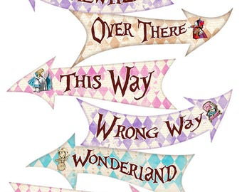 ALICE IN WONDERLAND Party Signs, Alice in Wonderland Arrows, Alice in Wonderland Decorations, Printable Signs, Alice Party Decoration, Alice