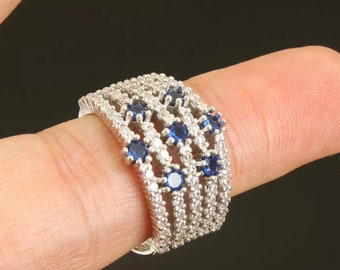 Solid sterling silver sapphire topaz ring