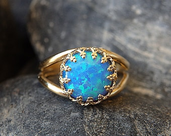 Opal Gold Ring, Gemstone ring, Blue Opal Ring, October Birthstone,Opal blue Gold Filled Ring,Ocean Opal jewelry,Turquoise Opal Feminine Ring