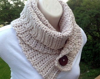 Convertible Button Scarf - Crochet Pattern