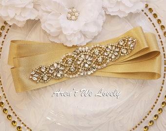 Gold wedding  Belt, Gold Bridesmaids Belt, Shimmery Gold Sash, Bridal Belt, rhinestone bridal sash, ivory sash belt, bridesmaid gift
