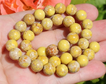 4 beads sediment Jasper multicolor yellow 9 mm AA18