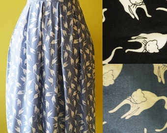 Plus size skirt cat print baby blue cotton pleated skirt fully lined - LARGE