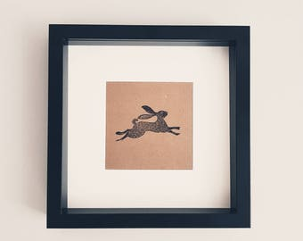 Black Framed Snow Hare Rabbit Ink Stamp Rustic Scandinavian Picture