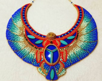 Egypt style bead embroidery necklace