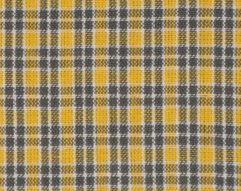 Homespun Fabric | Sewing Fabric | Cotton Fabric | Quilt Fabric | Small Plaid Fabric | Yellow White Grey And Charcoal | 1 Yard