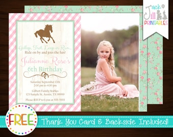 Shabby Chic Horse Photo Invitation,Vintage Rose, Pony Invitation, Farm, Ridding, Chic Equestrian +FREE Thank You Card!