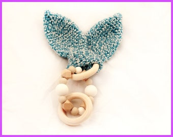 Baby Teether Wood Silicone Turquoise Blue