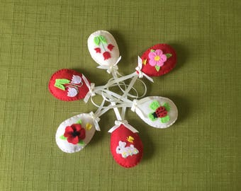 Flower Spring Easter  eggs, Flower Spring Easter ornaments, Felt Flower decoration, Flower eggs floral eggs