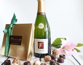 Personalisierte Schokolade, Pralinen & Champagner-Geschenk-Box, Bio Chocolate Box, Geburtstagsgeschenk, behindern Satz, Weihnachtsgeschenke