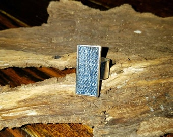 Denim Jeans Ring- 10x25 mm Antiqued  Stainless Silver Rectangle Adjustable finger Ring