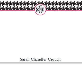 Houndstooth Monogram Flat Correspondence Note Card - Personalized Notecard
