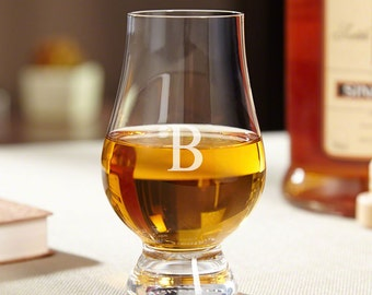 Glencairn Whiskey Glass - Personalized with Single Initial - Official Scotch Glasses - Durable Lead Free Crystal Glass