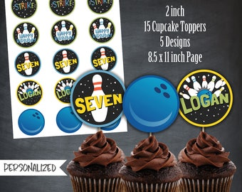 Bowling Cupcake Toppers, Bowling Favors, Bowling Tags, Bowling Party, Bowling Birthday, Ten Pints,Personalized, Printables, Digital, DIY